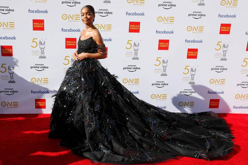 epa07475037 US actress Marsai Martin poses for the photographers upon her arrival for the 50th NAACP Image Awards at the Dolby Theatre in Hollywood, California, USA, 30 March 2019. Black beaded dress by Georges Hobeika. The NAACP Image awards honor excellence in television, recording and motion picture categories.  EPA-EFE/ETIENNE LAURENT