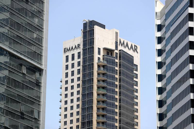 Dubai, United Arab Emirates - April 25, 2019: Emaar building with branding. Thursday the 25th of April 2019. Business Bay, Dubai. Chris Whiteoak / The National