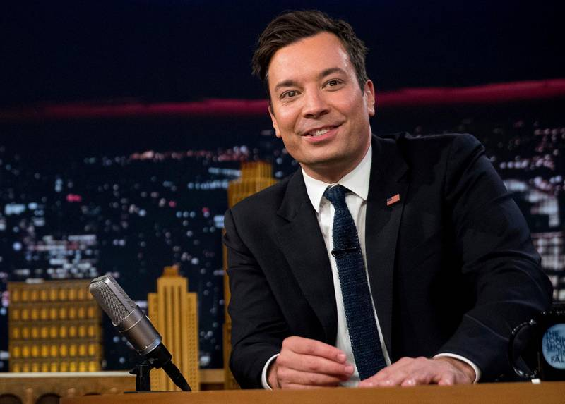 """FILE - In this Friday, Sept. 16, 2016, file photo, Jimmy Fallon talks during a taping of """"The Tonight Show with Jimmy Fallon,"""" in New York. U.S. President Donald Trump is telling Fallon to """"be a man"""" and stop """"whimpering"""" about the personal anguish he felt over the backlash he received after messing up Trump's hair during a 2016 campaign appearance on Fallon's late-night talk show. (AP Photo/Andrew Harnik, File)"""