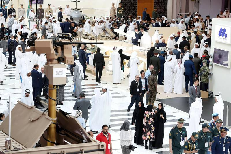 ABU DHABI, UNITED ARAB EMIRATES , Feb 23  – 2020 :- Visitors on the first day of the UMEX & SimTEX held at Abu Dhabi National Exhibitions Centre in Abu Dhabi. (Pawan  Singh / The National) For News/Online/Instagram.  Story by Kelsey Warner