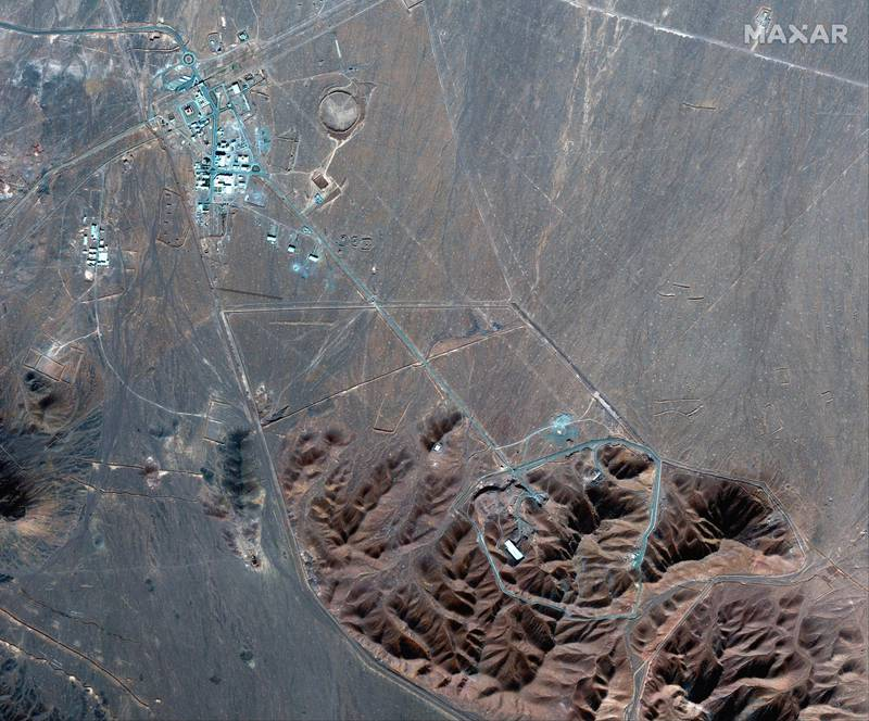 FILE - This Nov. 4, 2020, file satellite photo by Maxar Technologies shows Iran's Fordo nuclear site. Iran has told international nuclear inspectors it plans to enrich uranium up to 20% at its underground Fordo nuclear facility, a technical step away from weapons-grade levels, as it increases pressure on the West over its tattered atomic deal. (Maxar Technologies via AP, File)