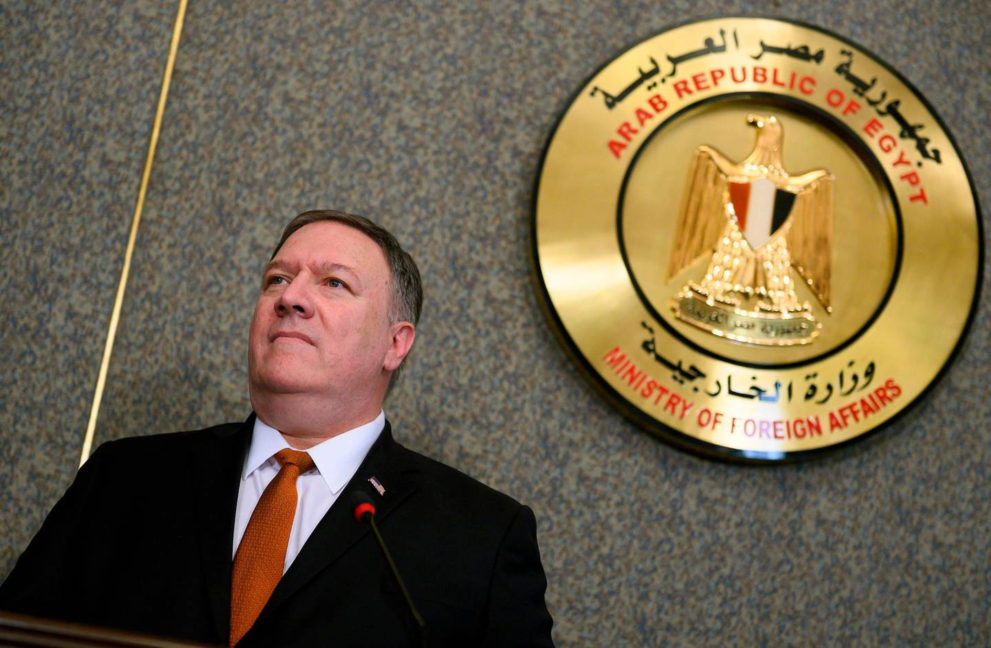 US Secretary of State Mike Pompeo holds a joint press conference with his Egyptian counterpart following their meeting at the ministry of foreign affairs in Cairo on January 10, 2019.  Pompeo also met with Egyptian President Abdel Fattah al-Sisi today, on the third leg of a regional tour to address concerns of American allies in the Middle East. / AFP / POOL / ANDREW CABALLERO-REYNOLDS