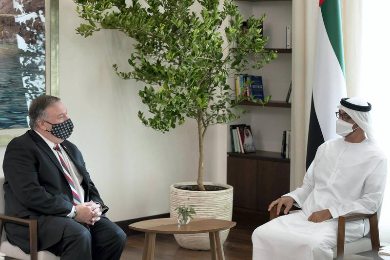 ABU DHABI, UNITED ARAB EMIRATES - November 21, 2020: HH General Sheikh Mohamed bin Zayed Al Nahyan Crown Prince of Abu Dhabi Deputy Supreme Commander of the UAE Armed Forces (R), meets with Michael R. Pompeo, Secretary of State of the United States of America (L), at Al Shati Palace.  ( Hamad Al Mansoori / Ministry of Presidential Affairs  ) ---
