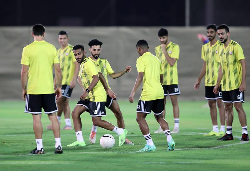 UAE's Tahnoun Al Zaabi and Bandar Al Ahbabi during training before the game between the UAE and Vietnam in the World cup qualifiers at the Zabeel Stadium, Dubai on June 14th, 2021. Chris Whiteoak / The National.  Reporter: John McAuley for Sport