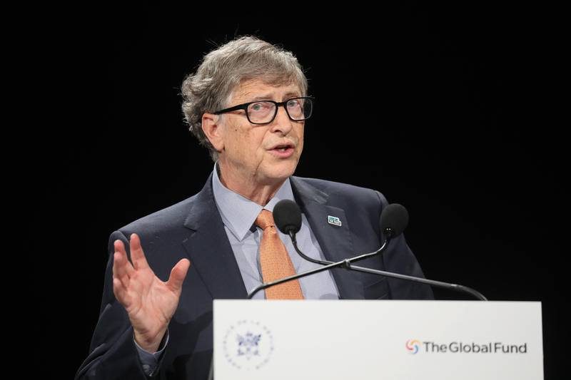 epa07909913 Microsoft founder, Co-Chairman of the Bill & Melinda Gates Foundation Bill Gates delivers a speech during a press meeting at the conference of Global Fund to Fight HIV, Tuberculosis and Malaria in Lyon, central eastern France, 10 October 2019. The Global Fund to Fight AIDS, Tuberculosis and Malaria opened a drive to raise 14 billion US to fight a global epidemics but face an uphill battle in the face of donor fatigue.  EPA/LUDOVIC MARIN / POOL  MAXPPP OUT