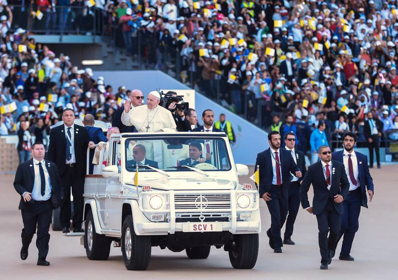 Abu Dhabi, U.A.E., February 5, 2019.   His Holiness Pope Francis, Head of the Catholic Church arrives at the Zayed Sports City.Victor Besa/The NationalSection:  NAReporter: