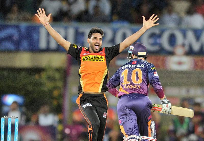 Sunrisers Hyderabad bowler Bhuvneshwar Kumar unsuccesfully appeals during the 2016 Indian Premier League (IPL) Twenty20 cricket match between Rising Pune Supergiants and Sunrisers Hyderabad at Dr. Y.S. Rajasekhara Reddy ACA-VDCA Cricket Stadium in Visakhapatnam on May 10, 2016. ----IMAGE RESTRICTED TO EDITORIAL USE - STRICTLY NO COMMERCIAL USE----- (Photo by NOAH SEELAM / AFP) / ----IMAGE RESTRICTED TO EDITORIAL USE - STRICTLY NO COMMERCIAL USE----- / GETTYOUT