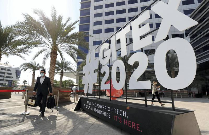 Dubai, United Arab Emirates - December 06, 2020: Visitors at GITEX 2020 at the World Trade Centre. December 6th, 2020 in Dubai. Chris Whiteoak / The National