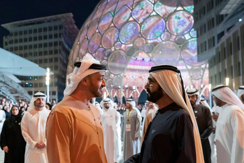 DUBAI, UNITED ARAB EMIRATES - January 29, 2020: HH Sheikh Mohamed bin Zayed Al Nahyan Crown Prince of Abu Dhabi Deputy Supreme Commander of the UAE Armed Forces (L) and HH Sheikh Mohamed bin Rashid Al Maktoum, Vice-President, Prime Minister of the UAE, Ruler of Dubai and Minister of Defence (R), attend the opening of Al Wasal Plaza at Expo 2020 Dubai site.  ( Mohamed Al Hammadi / Ministry of Presidential Affairs ) ---