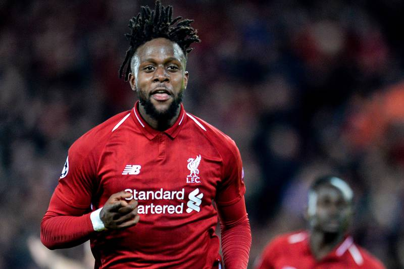 epaselect epa07554629 Liverpool's Divock Origi celebrates after scoring the 4-0 goal during the UEFA Champions League semi final second leg soccer match between Liverpool FC and FC Barcelona at Anfield stadium in Liverpool, Britain, 07 May 2019.  EPA/PETER POWELL