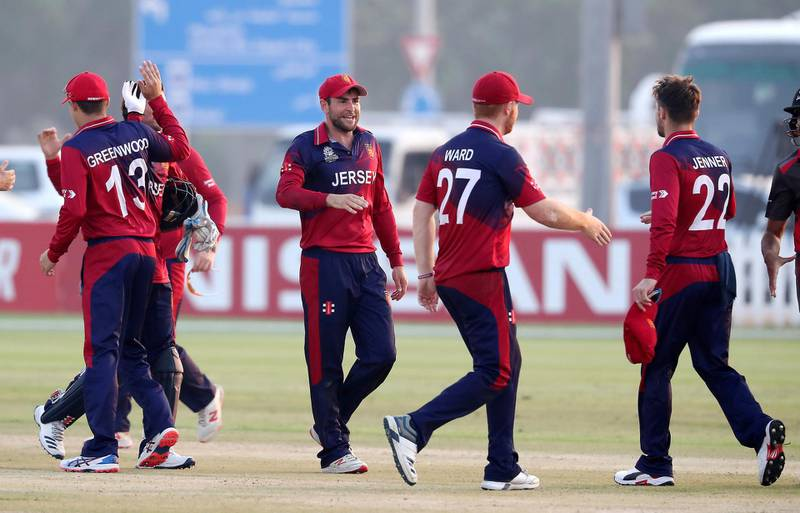 ABU DHABI , UNITED ARAB EMIRATES , October 22  – 2019 :- Players of Jersey celebrating after beating UAE by 35 runs during the World Cup T20 Qualifiers between UAE vs Jersey held at Tolerance Oval cricket ground in Abu Dhabi.  ( Pawan Singh / The National )  For Sports. Story by Paul