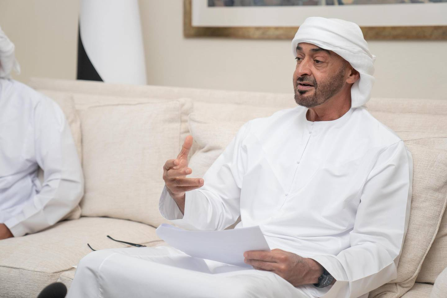 """ABU DHABI, UNITED ARAB EMIRATES - May 03, 2020: HH Sheikh Mohamed bin Zayed Al Nahyan, Crown Prince of Abu Dhabi and Deputy Supreme Commander of the UAE Armed Forces, participates in an online lecture by HE Mariam Mohamed Saeed Hareb Al Mehairi, UAE Minister of State for Food Security, titled """" Nourishing the Nation: Food Security in the UAE """". The lecture was broadcast on Al Emarat Channel as part of the Ramadan lecture series of Majlis Mohamed bin Zayed.   ( Rashed Al Mansoori / Ministry of Presidential Affairs ) ---"""