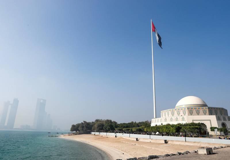 Abu Dhabi, U.A.E., February 8, 2018.  Fog at The Corniche UAE flag area.  Victor Besa / The NationalNational