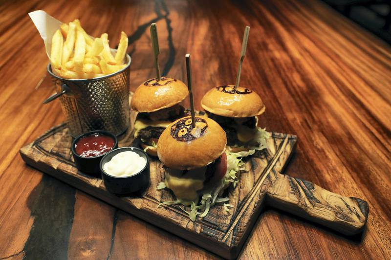 DUBAI, UNITED ARAB EMIRATES , September 27 – 2020 :-  King Kong Sliders at the Brass Monkey, new dining and entertainment destination on the Bluewaters Island in Dubai.  (Pawan Singh / The National) For Lifestyle/Online/Instagram. Story by Janice Rodrigues