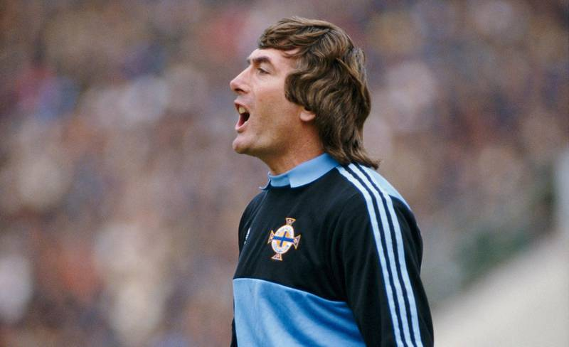 BUCHAREST, ROMANIA - OCTOBER 16: Pat Jennings of Northern Ireland in action during a FIFA 1986 World Cup qualifier between Romania and Northern Ireland on October 16, 1985 in Bucharest, Romania. Jennings played 119 games for his country as well as club football for Watford, Spurs and Arsenal. (Photo by Mike King/Allsport/Getty Images)