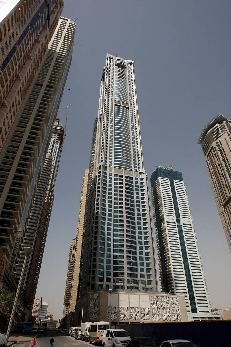 DUBAI, UNITED ARAB EMIRATES Ð May 1,2011: Torch residential tower (in the center) in Dubai Marina in Dubai. (Pawan Singh / The National) For Business.