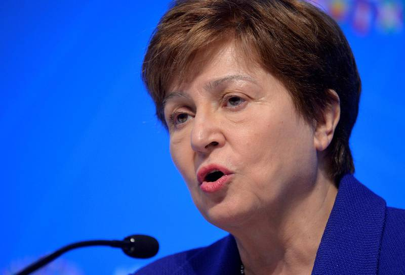 FILE PHOTO: International Monetary Fund (IMF) Managing Director Kristalina Georgieva makes remarks during a closing news conference for the International Monetary Finance Committee (IMFC), during the IMF and World Bank's 2019 Annual Meetings of finance ministers and bank governors, in Washington, U.S., October 19, 2019.   REUTERS/Mike Theiler/File Photo/File Photo
