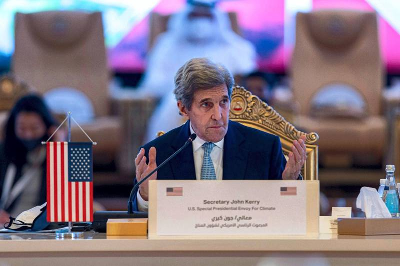 US climate envoy John Kerry attends the Regional Climate Dialogue in Abu Dhabi on Sunday. Courtesy Office of the UAE Special Envoy for Climate Change