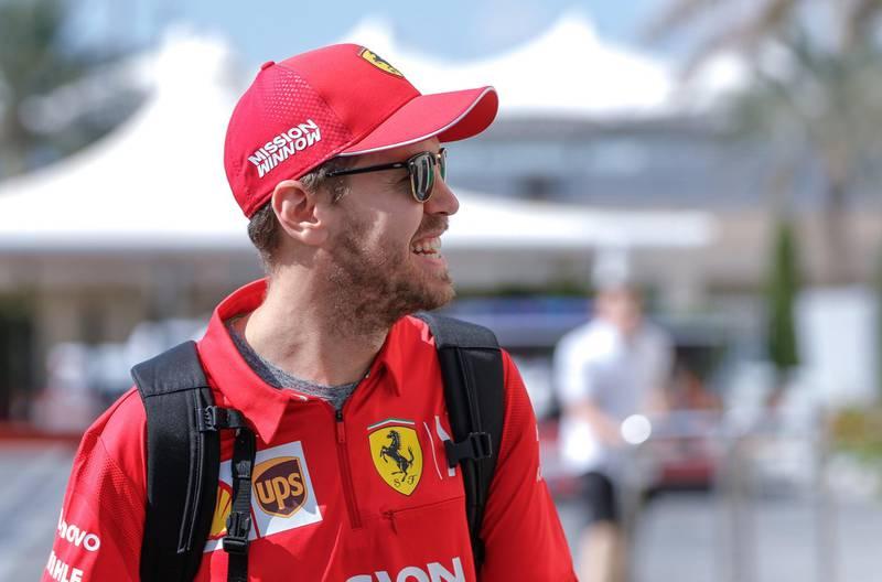 Abu Dhabi, United Arab Emirates, November 29, 2019.  Formula 1 Etihad Airways Abu Dhabi Grand Prix.--  Sebastian Vettel from Scuderia Ferrari Mission Winnow arrives at the track.Victor Besa / The NationalSection:  SPReporter:  Simon Wilgress-Pipe