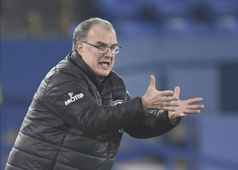 epa08849807 Head coach Marcelo Bielsa of Leeds reacts during the English Premier League soccer match between Everton FC and Leeds United in Liverpool, Britain, 28 November 2020.  EPA/Peter Powell / POOL EDITORIAL USE ONLY. No use with unauthorized audio, video, data, fixture lists, club/league logos or 'live' services. Online in-match use limited to 120 images, no video emulation. No use in betting, games or single club/league/player publications.