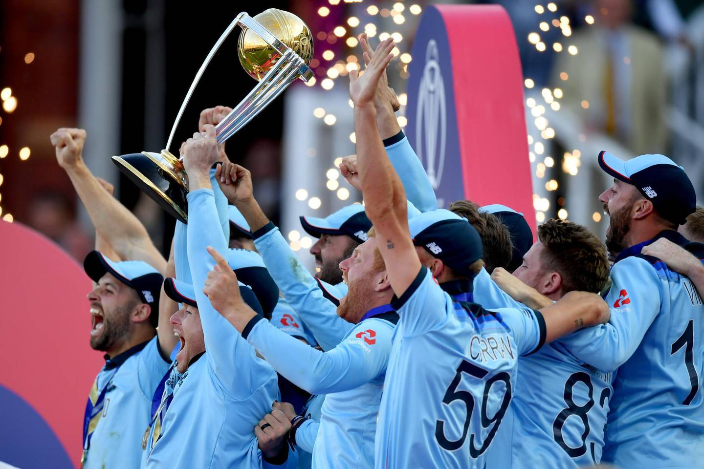 LONDON, ENGLAND - JULY 14: England Captain Eoin Morgan lifts the World Cup after victory for England during the Final of the ICC Cricket World Cup 2019 between New Zealand and England at Lord's Cricket Ground on July 14, 2019 in London, England. (Photo by Mike Hewitt/Getty Images)