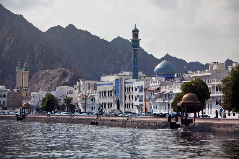 The white buildings of the Mutrah district line the corniche at Mina Sultan Qaboos in downtown Muscat, the capital of the Sultanate of Oman on Wednesday, Oct. 12, 2011. (Silvia Razgova / The National)