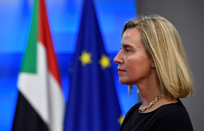 European Union for Foreign Affairs and Security Policy Federica Mogherini looks on before a bilateral meeting with Prime Minister of Sudan at the EU headquarters in Brussels on November 11, 2019.  / AFP / JOHN THYS