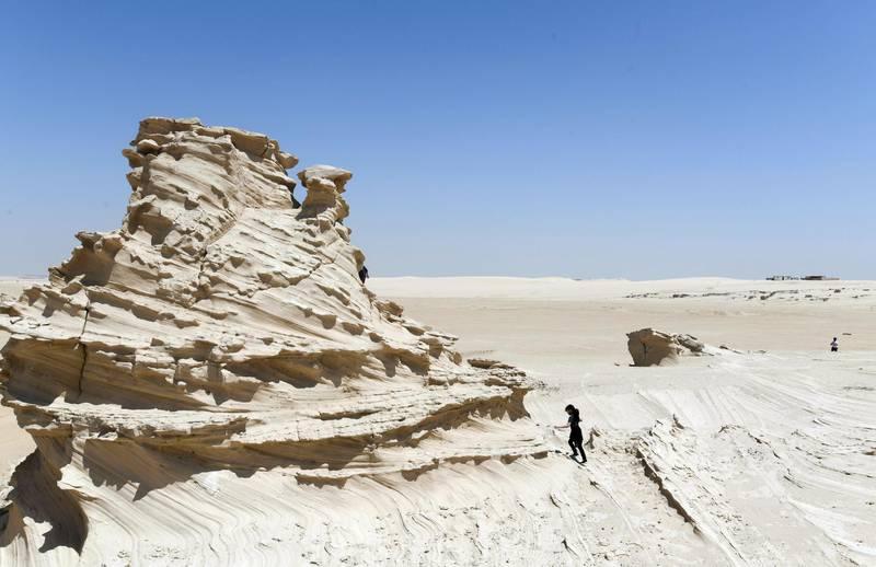 Abu Dhabi, United Arab Emirates - Natural fossil dunes attraction on the outskirts, at Al Wathba. Khushnum Bhandari for The National