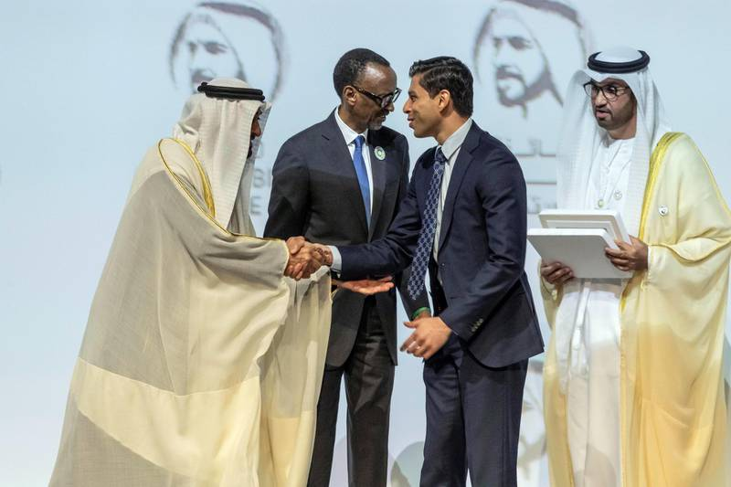 ABU DHABI, UNITED ARAB EMIRATES. 13 JANUARY 2020. The Zayed Sustainability Awards held at ADNEC as part of Abu Dhabi Sustainability Week. H.E. Sheikh Mohammed bin Zayed Al Nahyan, Crown Prince of Abu Dhabi and Deputy Supreme Commander of the United Arab Emirates Armed Forces awards Water Winner: Ceres Imaging, USA wit the President of Rwanda Paul Kagame. (Photo: Antonie Robertson/The National) Journalist: Kelly Clarker. Section: National.