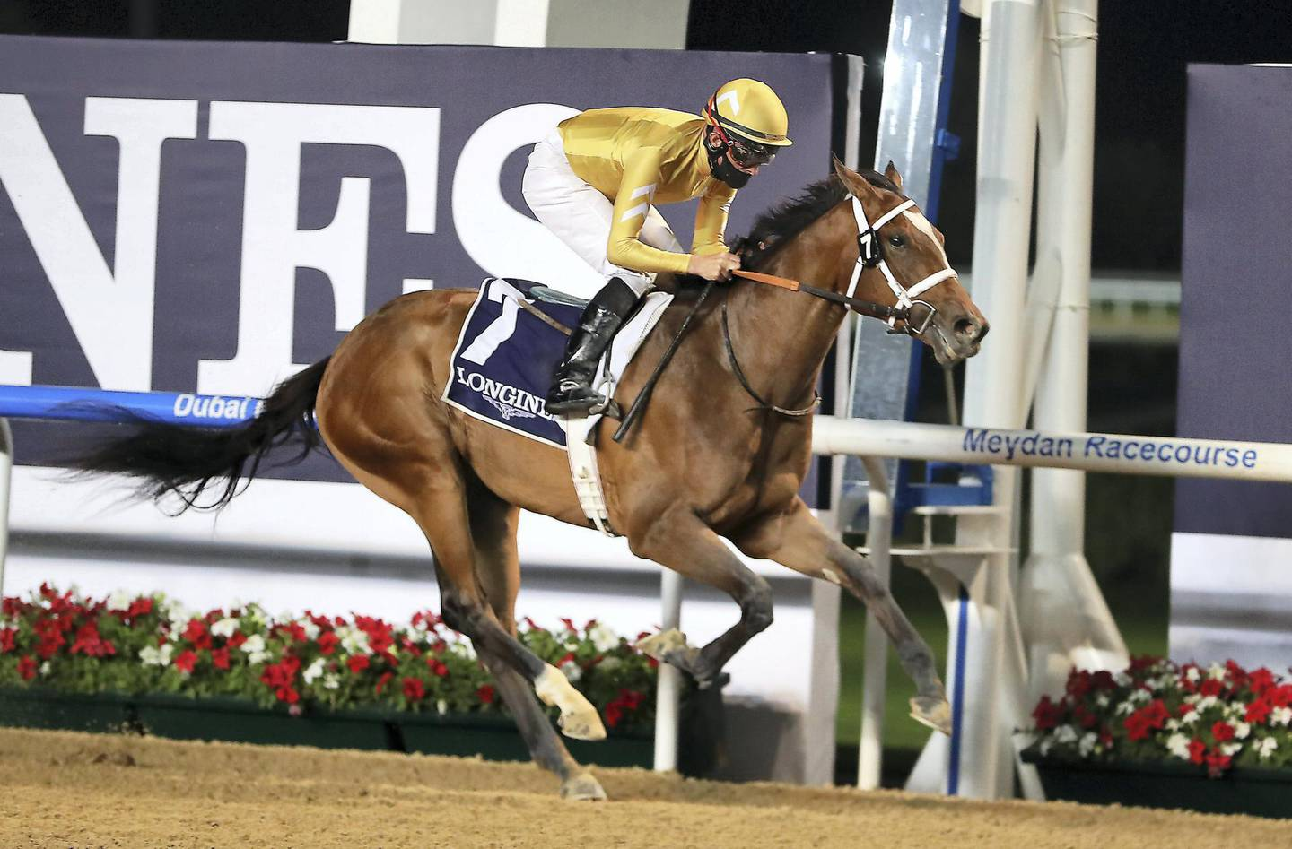 DUBAI , UNITED ARAB EMIRATES , December 17 – 2020 :- Dane O'Neill (no 7) guides Mnasek (USA)  to win the 2nd horse race 1400m Dirt at the Meydan Racecourse in Dubai. ( Pawan Singh / The National ) For Sports. Story by Amith