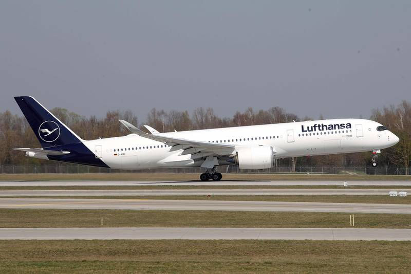 MUNICH, GERMANY - APRIL 03: A  Lufthansa Airbus A 350-941 aircraft is air born at Airport Munich Franz-Josef-Strauss International on April 03, 2019 in Munich, Germany. (Photo by Alexander Hassenstein/Getty Images)