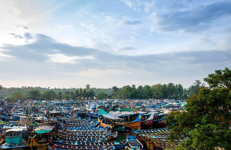 D2C2FA Traditional fishing boats moored at sunset at Valapattanam harbour on a public holiday in Kannur, Kerala, India.