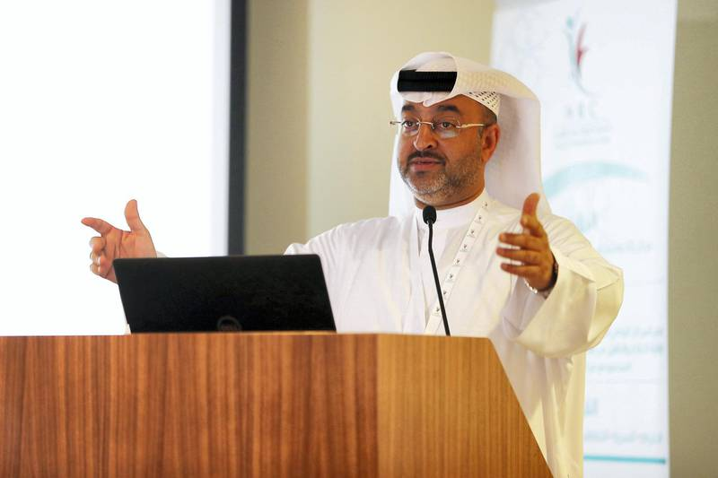 ABU DHABI , UNITED ARAB EMIRATES, September 11 – 2018 :- Dr Hamad Al Ghaferi , Director General , National Rehabilitation Centre speaking during the WHO Drugs Conference held at the National Rehabilitation Centre in Abu Dhabi. ( Pawan Singh / The National )  For News. Story by Haneen Dajani