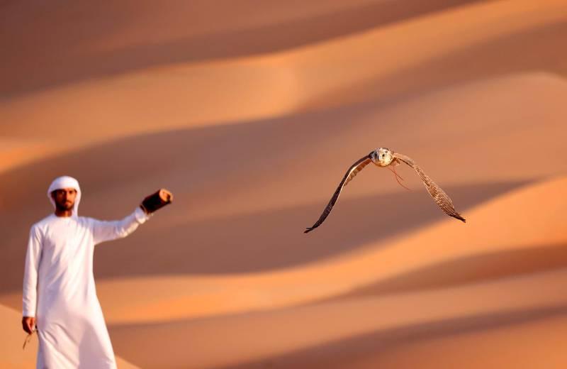 TOPSHOT - Emirati Ali Mansouri trains a falcon in the Liwa desert, some 250 kilometres west of the Gulf emirate of Abu Dhabi on January 9, 2021.  / AFP / Karim SAHIB