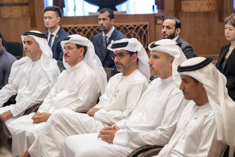 BEIJING, CHINA - July 23, 2019: (front L-R) HH Lt General Sheikh Saif bin Zayed Al Nahyan, UAE Deputy Prime Minister and Minister of Interior, HE Sultan bin Saeed Al Mansouri, UAE Minister of Economy, HH Sheikh Hamed bin Zayed Al Nahyan, Chairman of the Crown Prince Court of Abu Dhabi and Abu Dhabi Executive Council Member, HE Khaldoon Khalifa Al Mubarak, CEO and Managing Director Mubadala, Chairman of the Abu Dhabi Executive Affairs Authority and Abu Dhabi Executive Council Member and HE Ali Mohamed Hammad Al Shamsi, Deputy Secretary-General of the UAE Supreme National Security Council, attend the UAE-China youth symposium, at Tsinghua University.   ( Rashed Al Mansoori / Ministry of Presidential Affairs ) ---
