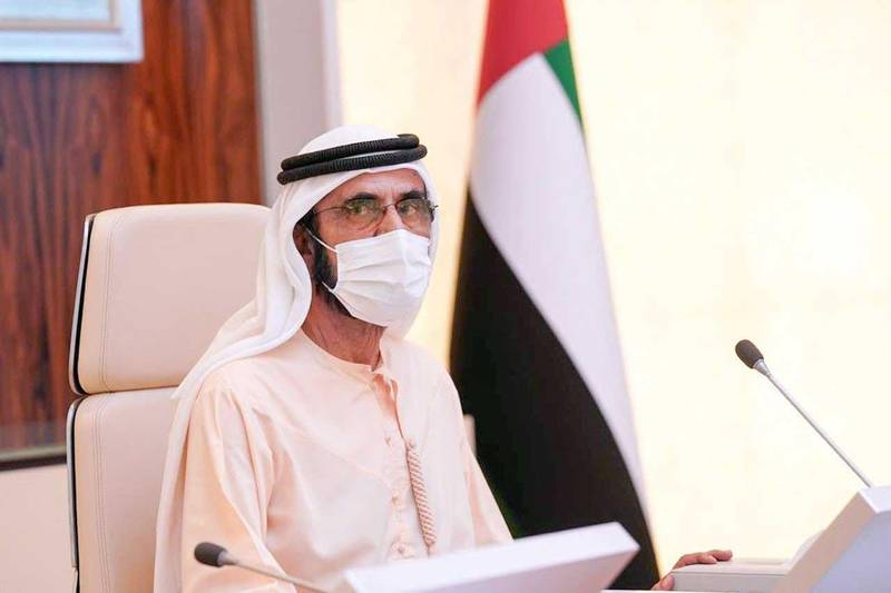 Sheikh Mohammed bin Rashid, Vice President, Prime Minister and Ruler of Dubai, chairs the Council of Ministers at Al-Watan Palace. Courtesy Sheikh Mohammed bin Rashid's Twitter