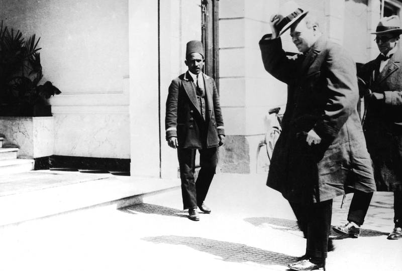 British Colonial Secretary Winston Churchill (1874 - 1965) in Cairo for the 1921 Cairo conference, at which he helped establish the borders of the modern Middle East. (Photo by General Photographic Agency/Hulton Archive/Getty Images)