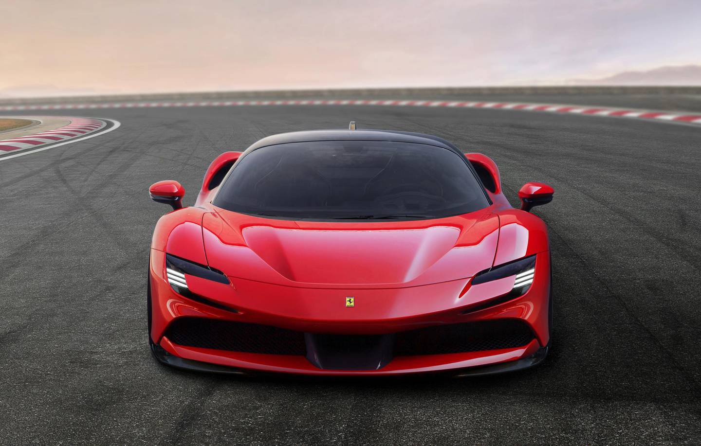 Ferrari SF90 Stradale hybrid sports car is displayed at the company's base in Maranello, Italy May 29, 2019. Ferrari/Handout via REUTERS ATTENTION EDITORS - THIS PICTURE WAS PROVIDED BY A THIRD PARTY.
