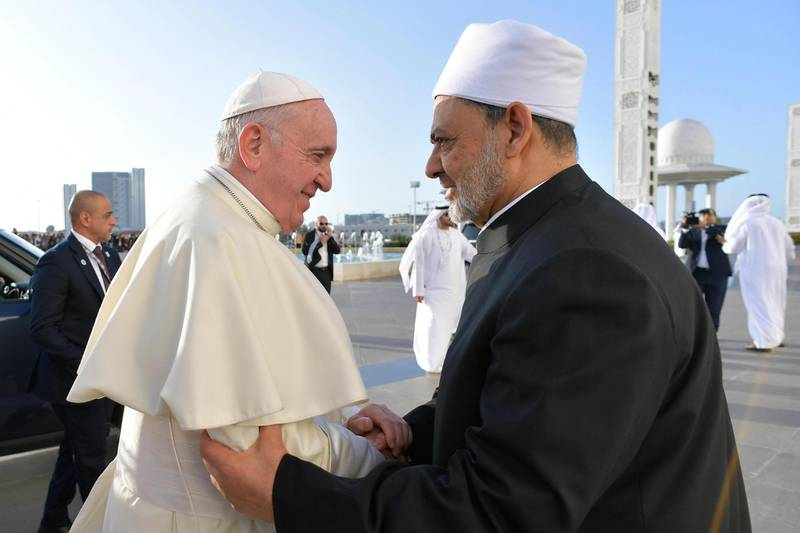epa07343016 A handout picture provided by the Vatican Media shows Pope Francis (L) shaking hands with Grand Sheik Ahmed al-Tayeb (R), the head of Al-Azhar, the Sunni Muslim world's premier Islamic institution, as he arrives for a meeting with the members of Muslim Council of Elders at Grand Mosque of Sheik Zayed, in Abu Dhabi, United Arab Emirates, 04 February 2019.  EPA/VATICAN MEDIA HANDOUT  HANDOUT EDITORIAL USE ONLY/NO SALES