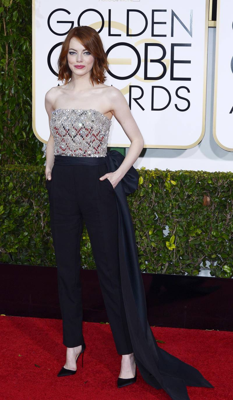 epa04556482 Emma Stone arrives for the 72nd Annual Golden Globe Awards at the Beverly Hilton Hotel, in Beverly Hills, California, USA, 11 January 2015.  EPA/PAUL BUCK