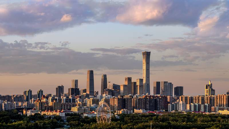 BEIJING, CHINA - MAY 27: A general view of the skyline of the central business district at sunset on May 27, 2020 in Beijing, China. (Photo by Sheng Peng/VCG via Getty Images)