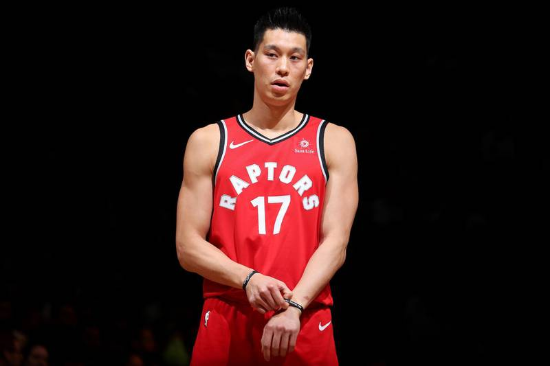 BROOKYLN, NY - APRIL 3: Jeremy Lin #17 of the Toronto Raptors looks on against the Brooklyn Nets on April 3, 2019 at Barclays Center in New York City, New York. NOTE TO USER: User expressly acknowledges and agrees that, by downloading and or using this photograph, User is consenting to the terms and conditions of the Getty Images License Agreement. Mandatory Copyright Notice: Copyright 2019 NBAE   Nathaniel S. Butler/NBAE via Getty Images/AFP