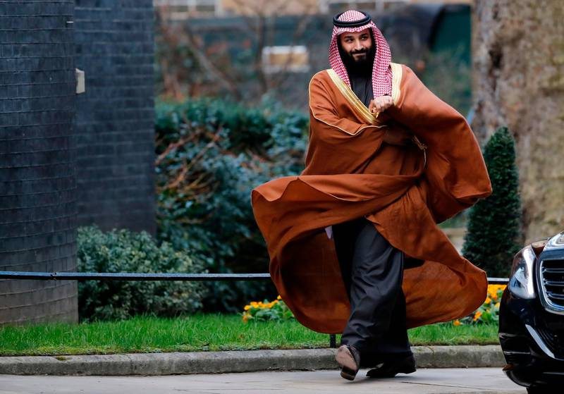 """(FILES) In this file photo taken on March 7, 2018 Saudi Arabia's Crown Prince Mohammed bin Salman arrives for talks at 10 Downing Street, in central London. Likening Iran's leader to Adolf Hitler, Saudi Arabia's crown prince warned in a US television interview that if Tehran gets a nuclear weapon, his country will follow suit. """"Saudi Arabia does not want to acquire any nuclear bomb, but without a doubt, if Iran developed a nuclear bomb, we will follow suit as soon as possible,"""" Saudi Crown Prince Mohammed bin Salman said in an excerpt of the interview that aired March 15, 2018 on """"CBS This Morning.""""The 32-year-old Prince Mohammed said he has referred to Iran's supreme leader Ayatollah Ali Khamenei as """"the new Hitler"""" because """"he wants to expand.""""  / AFP PHOTO / Tolga AKMEN"""