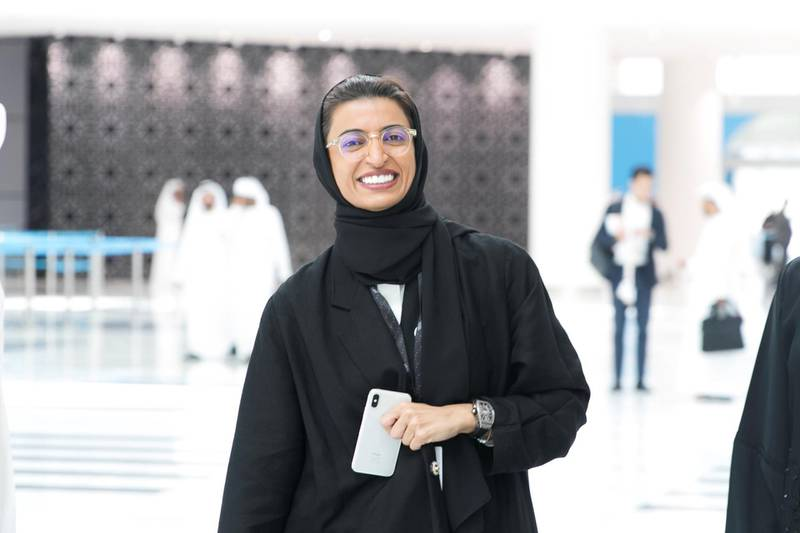 ABU DHABI, UNITED ARAB EMIRATES - OCTOBER 08, 2018. H.E. Noura bint Mohammed Al Kaabi arrives at Mohammed Bin Zayed Council for Future Generations sessions, held at ADNEC.(Photo by Reem Mohammed/The National)Reporter: SHIREENA AL NUWAIS + ANAM RIZVISection:  NA