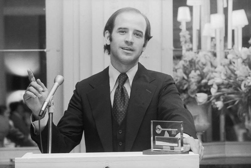U.S. Senator Joseph Biden of Delaware addresses Drexel University Alumni. Biden was the youngest U.S. Senator at that time. Getty Images