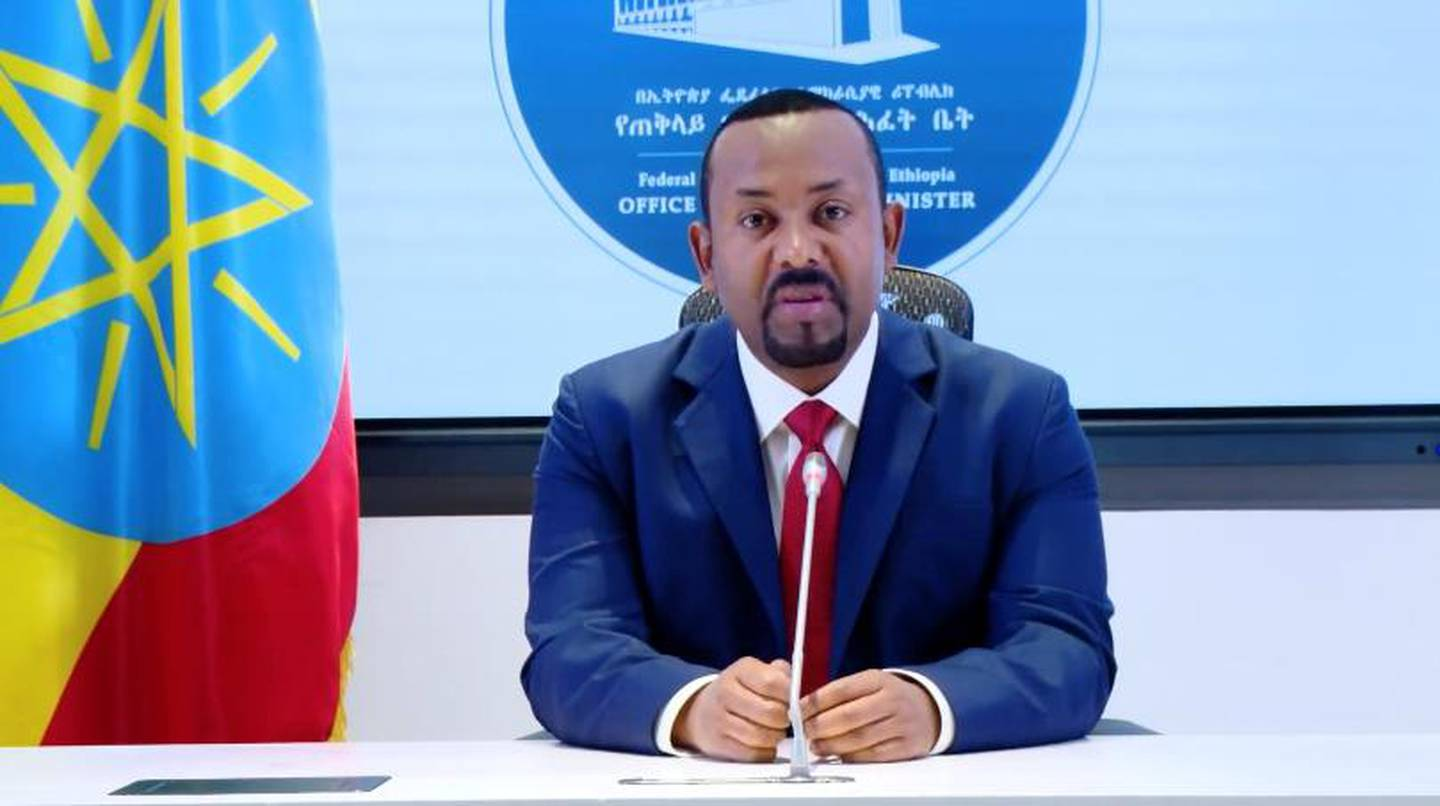 Ethiopia's Prime Minister Abiy Ahmed makes a statement on his official Facebook page, in  Addis Ababa, Ethiopia, November 8, 2020, in this still image taken from a social media video. Office of the Prime Minister- Press Secretariat/via REUTERS THIS IMAGE HAS BEEN SUPPLIED BY A THIRD PARTY. NO RESALES. NO ARCHIVES