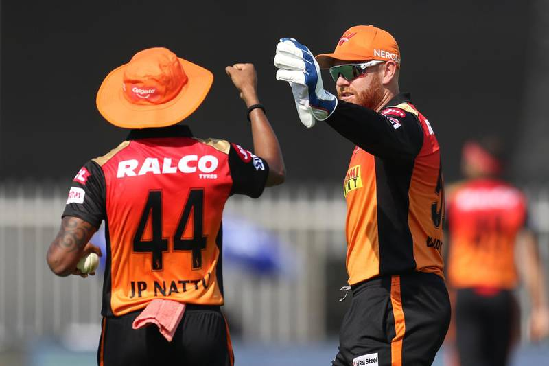 Jonny Bairstow of Sunrisers Hyderabad and T Natarajan of Sunrisers Hyderabad  celebrates the wicket of Surya Kumar Yadav of Mumbai Indians during match 17 of season 13 of the Dream 11 Indian Premier League (IPL) between the Mumbai Indians and the Sunrisers Hyderabad held at the Sharjah Cricket Stadium, Sharjah in the United Arab Emirates on the 4th October 2020. Photo by: Deepak Malik  / Sportzpics for BCCI