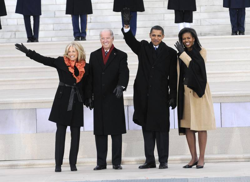 """Jill Biden, Vice President-elect Joe Biden, President-elect Barack Obama and Michelle Obama wave to the crowd at """"We Are One: The Obama Inaugural Celebration At The Lincoln Memorial"""" presented exclusively by HBO on Sunday January 18th 2009. (Photo by Kevin"""