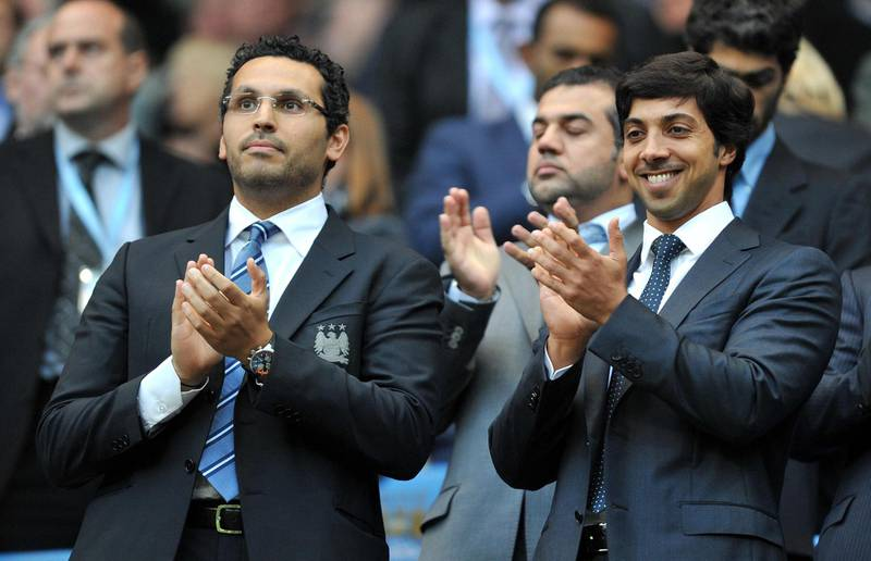 File photo dated 23-08-2010 of Manchester City owner Sheikh Mansour with chairman Khaldoon Al Mubarak (left). Issue date: Wednesday May 26, 2021. PA Photo. We look at some of the key dates in the Manchester City journey from the English third tier to the top of the European game as they prepare for the Champions League final 22 years after escaping Division Two 2008: Club sold by Shinawatra to the Abu Dhabi United Group, the investment vehicle of Sheikh Mansour; Robinho signed for British record £32.5million among flurry of big-money deals. See PA Story SOCCER Champions League Man City Timeline. Photo credit should read: Martin Rickett/PA Wire