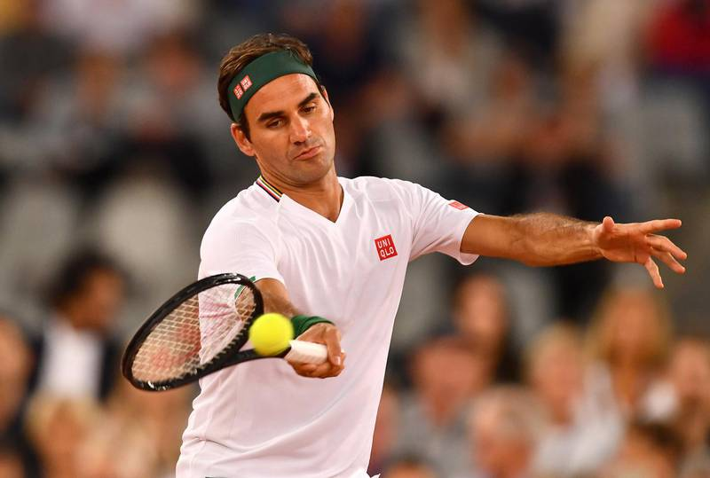CAPE TOWN, SOUTH AFRICA - FEBRUARY 07: Roger Federer of Switzerland plays a forehand during the Match in Africa between Roger Federer and Rafael Nadal at Cape Town Stadium on February 07, 2020 in Cape Town, South Africa. (Photo by Ashley Vlotman/Gallo Images/Getty Images)
